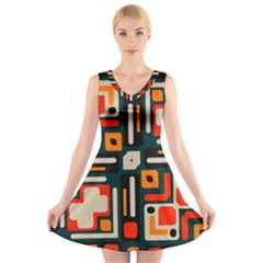 Shapes In Retro Colors Texture               V Neck Sleeveless Dress