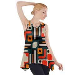 Shapes in retro colors texture                   Side Drop Tank Tunic