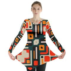 Shapes in retro colors texture                   Long Sleeve Tunic