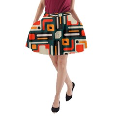 Shapes in retro colors texture                   A-Line Pocket Skirt