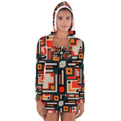 Shapes In Retro Colors Texture                   Women s Long Sleeve Hooded T Shirt