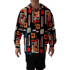 Shapes In Retro Colors Texture                   Hooded Wind Breaker (kids)