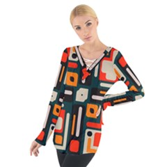 Shapes in retro colors texture                    Women s Tie Up Tee