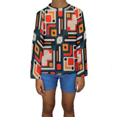 Shapes in retro colors texture                    Kid s Long Sleeve Swimwear