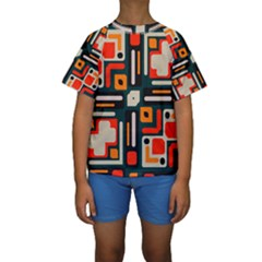Shapes In Retro Colors Texture                    Kid s Short Sleeve Swimwear