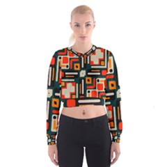 Shapes in retro colors texture                     Women s Cropped Sweatshirt