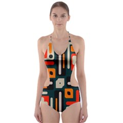 Shapes In Retro Colors Texture                   Cut Out One Piece Swimsuit