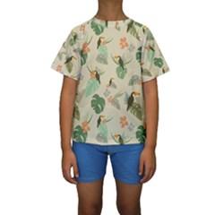 Tropical Garden Pattern Kid s Short Sleeve Swimwear
