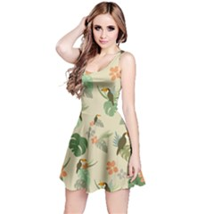 Tropical Garden Pattern Reversible Sleeveless Dress