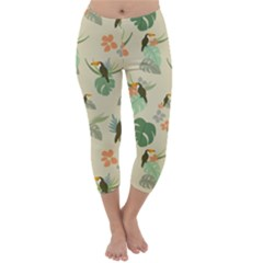 Tropical Garden Pattern Capri Winter Leggings