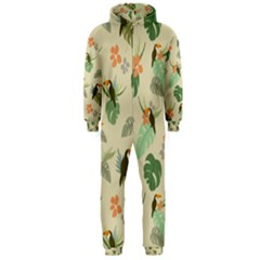 Tropical Garden Pattern Hooded Jumpsuit (men)