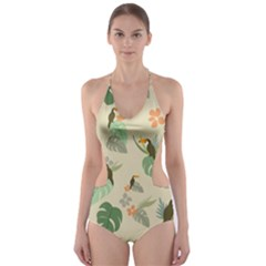 Tropical Garden Pattern Cut-Out One Piece Swimsuit