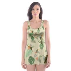 Tropical Garden Pattern Skater Dress Swimsuit