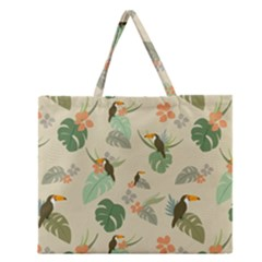 Tropical Garden Pattern Zipper Large Tote Bag