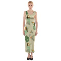 Tropical Garden Pattern Fitted Maxi Dress