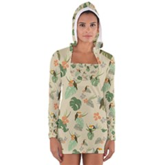 Tropical Garden Pattern Women s Long Sleeve Hooded T Shirt