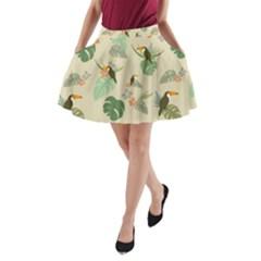 Tropical Garden Pattern A-Line Pocket Skirt