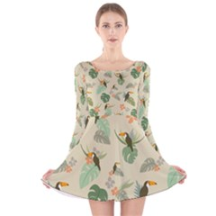 Tropical Garden Pattern Long Sleeve Velvet Skater Dress