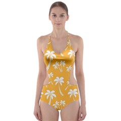 Summer Palm Tree Pattern Cut-Out One Piece Swimsuit