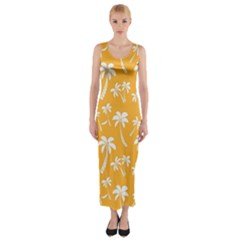 Summer Palm Tree Pattern Fitted Maxi Dress