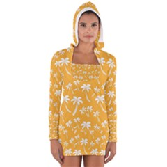 Summer Palm Tree Pattern Women s Long Sleeve Hooded T-shirt