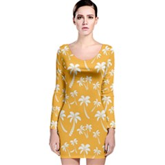 Summer Palm Tree Pattern Long Sleeve Velvet Bodycon Dress
