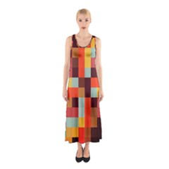 Tiled Colorful Background Full Print Maxi Dress