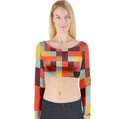 Tiled Colorful Background Long Sleeve Crop Top