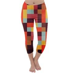 Tiled Colorful Background Capri Winter Leggings