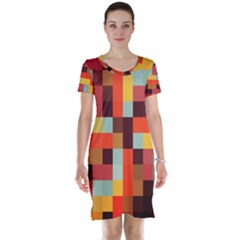 Tiled Colorful Background Short Sleeve Nightdress