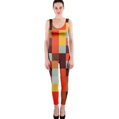 Tiled Colorful Background Onepiece Catsuit