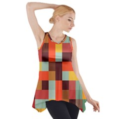Tiled Colorful Background Side Drop Tank Tunic