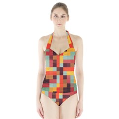 Tiled Colorful Background Women s Halter One Piece Swimsuit