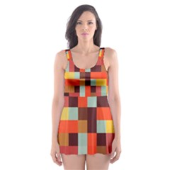 Tiled Colorful Background Skater Dress Swimsuit