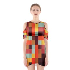 Tiled Colorful Background Cutout Shoulder Dress