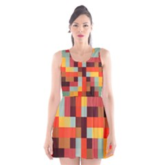 Tiled Colorful Background Scoop Neck Skater Dress