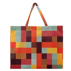 Tiled Colorful Background Zipper Large Tote Bag