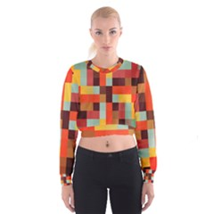 Tiled Colorful Background Women s Cropped Sweatshirt