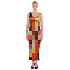 Tiled Colorful Background Fitted Maxi Dress
