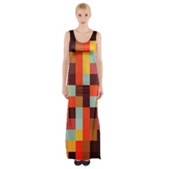 Tiled Colorful Background Maxi Thigh Split Dress