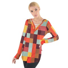 Tiled Colorful Background Women s Tie Up Tee