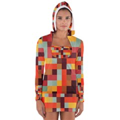 Tiled Colorful Background Women s Long Sleeve Hooded T Shirt