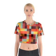 Tiled Colorful Background Cotton Crop Top