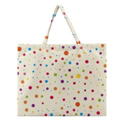 Colorful Dots Pattern Zipper Large Tote Bag