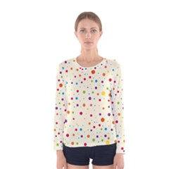 Colorful Dots Pattern Women s Long Sleeve Tee
