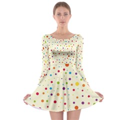 Colorful Dots Pattern Long Sleeve Skater Dress