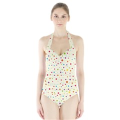 Colorful Dots Pattern Women s Halter One Piece Swimsuit