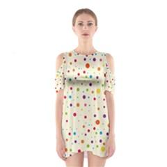 Colorful Dots Pattern Cutout Shoulder Dress