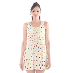 Colorful Dots Pattern Scoop Neck Skater Dress