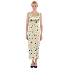 Colorful Dots Pattern Fitted Maxi Dress